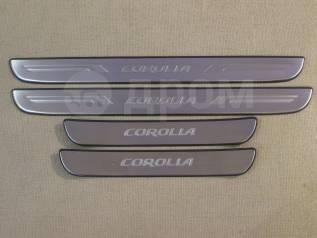 Накладка на порог. Toyota Corolla, ADE150, AZE141, NDE150, NRE150, ZRE142, ZRE151, ZZE150 Двигатели: 1ADFTV, 1NDTV, 1NRFE, 1ZRFAE, 1ZRFE, 2AZFE, 2ZRFE...