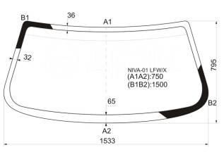 Стекло лобовое. Chevrolet Niva, 21236 Двигатели: Z18XE, BAZ2123