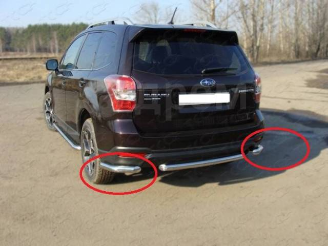 Защита заднего бампера (уголки) Subaru Forester 2013+ (Subfor13-24). Subaru Forester, SJ, SJ5, SJ9, SJG Двигатели: FA20, FA20F, FB20, FB25, FB25B