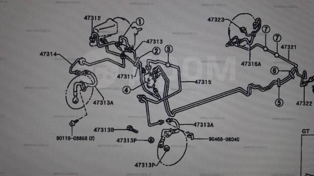 Шланг тормозной. Toyota: Sprinter, Corolla Spacio, Sprinter Carib, Corolla Levin, Sprinter Trueno, Corolla, Sprinter Marino, Corolla Ceres Двигатели...