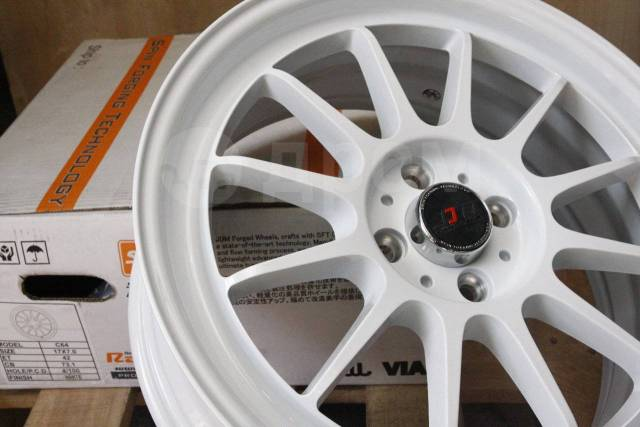 "Супер легкие JDM 17x7 4x100 ET42 White VITZ FIT Swift MINI Cooper. 7.0x17"", 4x100.00, ET42, ЦО 73,1 мм."
