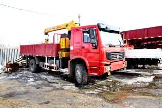 Howo Sinotruk. Бортовой грузовой автомобиль Howo 4x4 с крановой установкой XCMG SQ5SK, 10 000куб. см., 4x4