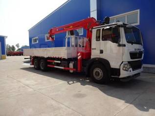 Howo Sinotruk. Бортовой грузовик HOWO T5G с КМУ XCMG SQS200III, 6 870куб. см., 6x4. Под заказ