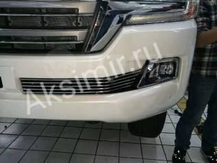 Накладка на решетку бампера. Toyota Land Cruiser, GRJ200, J200, URJ200, URJ202, URJ202W, UZJ200, UZJ200W, VDJ200 Двигатели: 1URFE, 1VDFTV