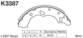 Колодки тормозные барабанные. Mazda Revue, DB3PA, DB5PA Mazda Demio, DW3W, DW5W Ford Festiva, D23PF, D25PF, DW3WF, DW5WF