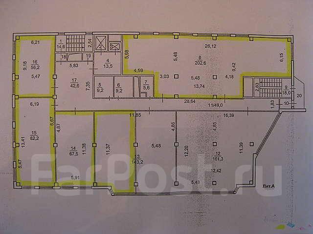 Офисные помещения. 124 кв.м., улица Стрельникова 7, р-н Эгершельд. План помещения