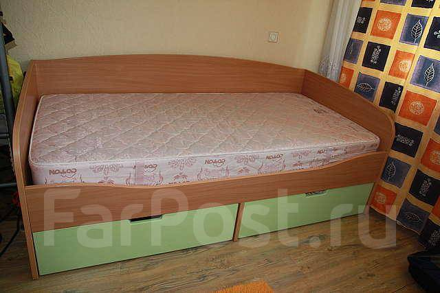 детская кровать с ящиками и матрацем полуторка мебель во владивостоке
