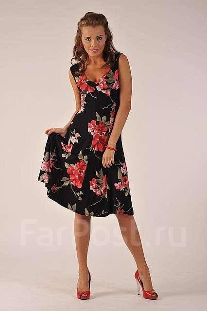 Платья с красными цветами фото