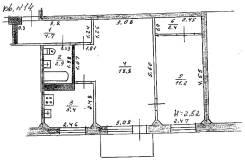 2-комнатная, улица Карла Маркса 8б. частное лицо, 45кв.м. План квартиры