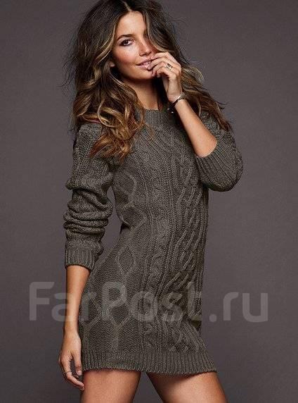 Крупная вязка свитера и платья