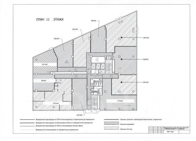 Бизнес-центры. 105кв.м., проспект Океанский 17, р-н Центр. План помещения