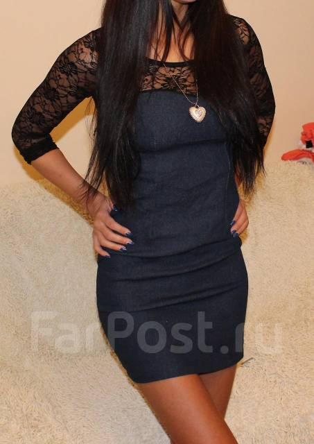 Джинсовое платье с гипюром!