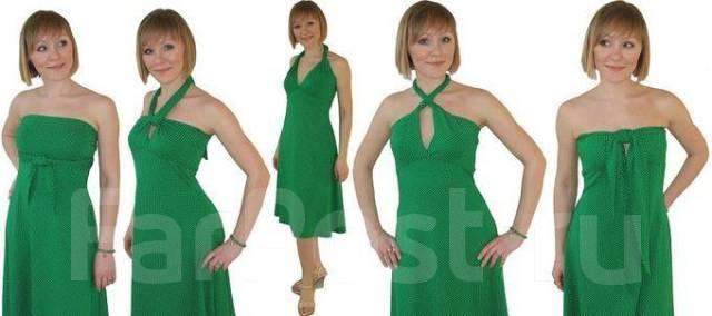 7a73d09da60e Платье-трансформер зеленое в мелкий белый горошек - Основная одежда ...
