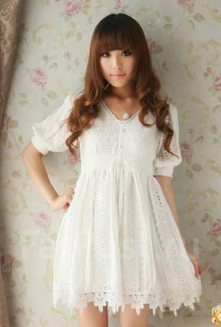 Платье белое хлопок кружево