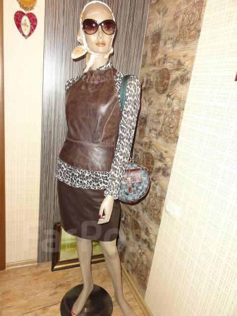 """Wow! Кожаная стильная Жилетка-Кофта """"ALAM Leather"""" из Англии Оригинал. 40-48"""