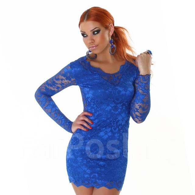 Купить яркое синее платье