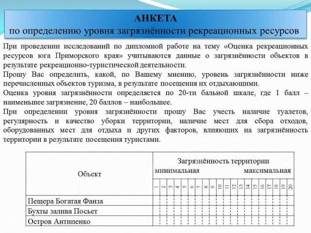 Дипломная работа Оценка рекреационных ресурсов юга Приморского  Дипломная работа Оценка рекреационных ресурсов юга Приморского края