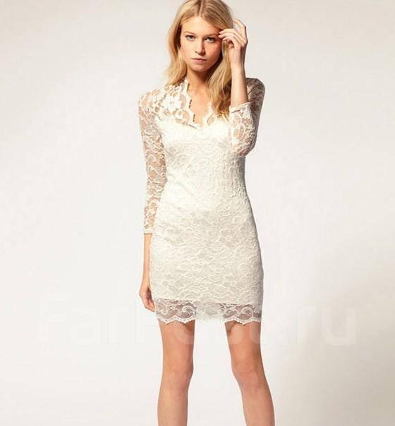 Белое короткое платье кружево