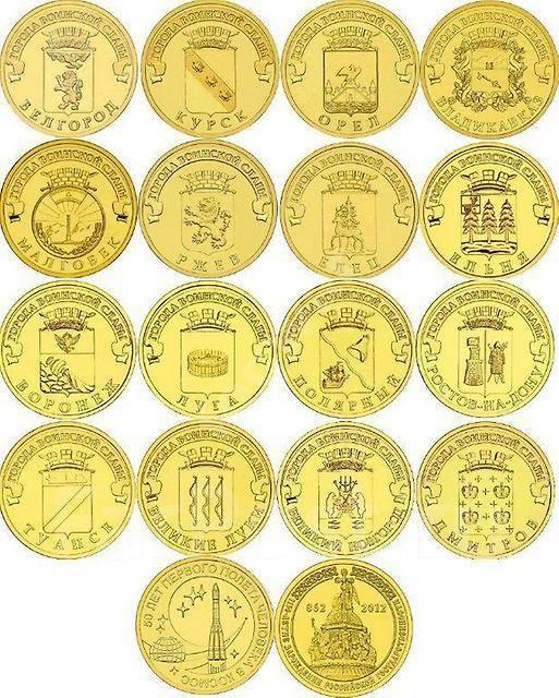 Список 10 рублей юбилейные