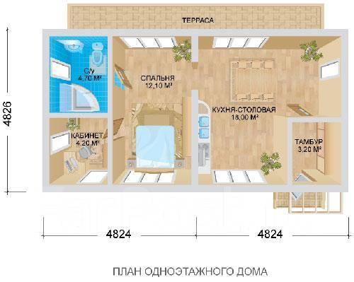 Дачный дом. до 100 кв. м., 1 этаж, комбинированный