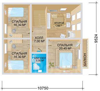 Проект дома Ниагара. 200-300 кв. м., 2 этажа