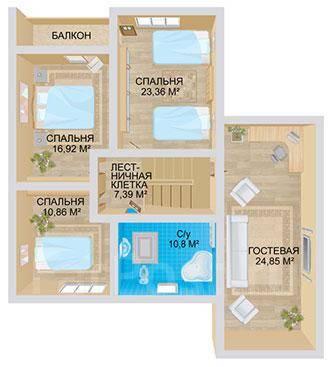 Традиция. 200-300 кв. м., 2 этажа