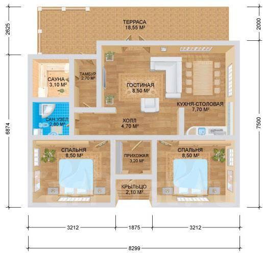 Лапландия. до 100 кв. м., 1 этаж
