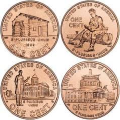 1 цент 2009 США Президентство Линкольна (4 шт. ) UNC