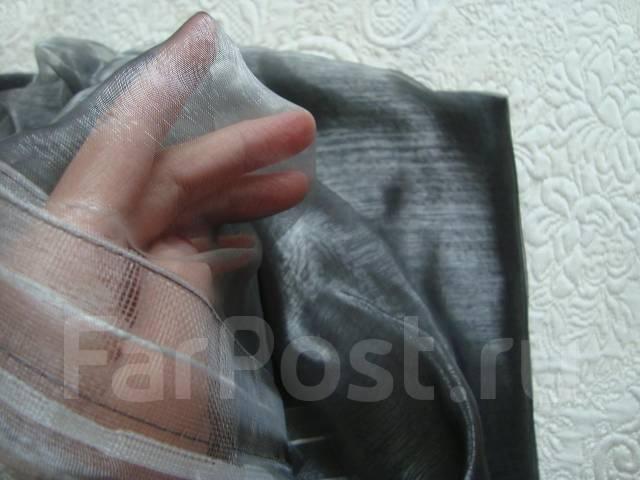 Тюль – органза для гостиной. Холодного серого цвета. 500 х 260 см