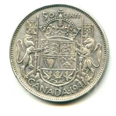 Канада 50 центов 1941 Georg VI Серебро