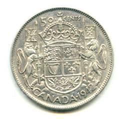 Канада 50 центов 1942 Georg VI Серебро