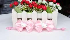 Резинка для волос Hello Kitty с атласным бантиком в горох