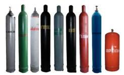 Технические газы: Гелий, аргон, улегислота, пропан, кислород, ацетилен.
