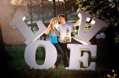 """Объёмные буквы """"LOVE is . """" для свадебной фото-сессии."""