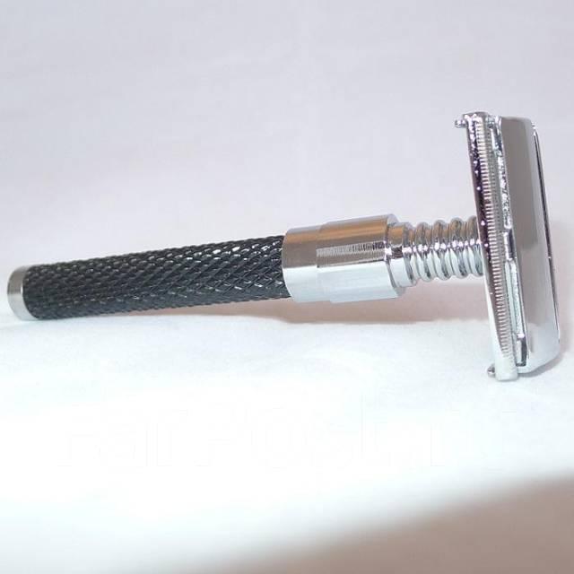 Бритва Parker evolution, хром, прямой рез, ручка черная смола. Под заказ