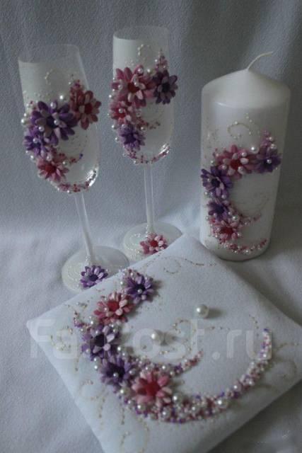 фото украшение свадебных бокалов