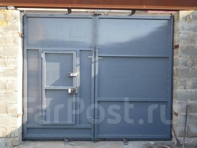 гаражные металлические ворота калиткой руками своими с распашные