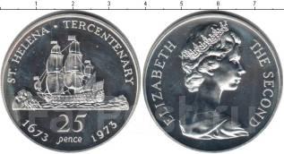 25 пенсов Серебро 1973г. Остров Святой Елены. Корабль, парусник. ПРУФ.