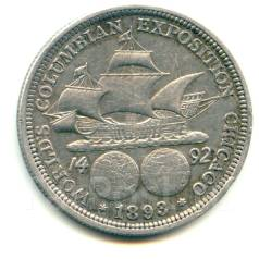 """США 50 центов 1893 """"Колумб"""" Серебро"""