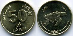 50 лаари 1995год, Мальдивы . Черепаха.