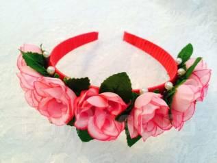 """Красивый цветочный ободок """"Розовые розы""""! Ручная работа!"""