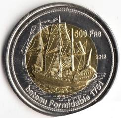 500 франков 2012г, о-ва Бессас, биметалл, парусник.