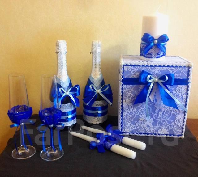 Украшения свадебных бокалов и бутылок фото