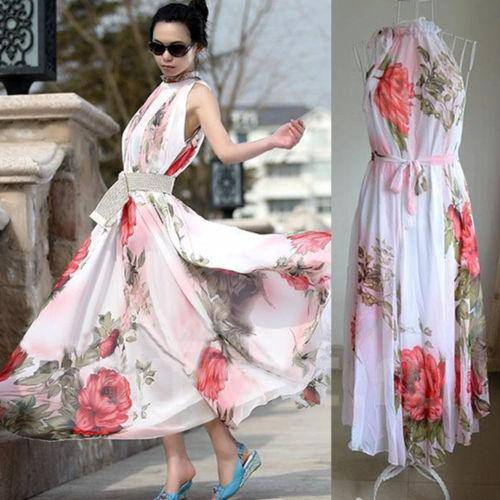 Шифоновое платье в пол с принтом