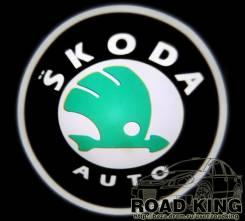 Лазерная проекция логотипа под двери авто Skoda № 089