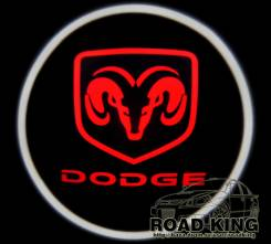 Лазерная проекция логотипа под двери авто Dodge № 052
