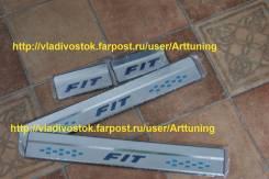 Алюминиевые порожки fit для Honda Fit gk 2014 синяя надпись В Наличии. Honda Fit, GK6, GK3, GK5, GK4, GP6, GP5