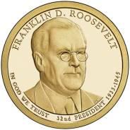 1$ 2014 г. США. 32-й президент Франклин Рузвельт