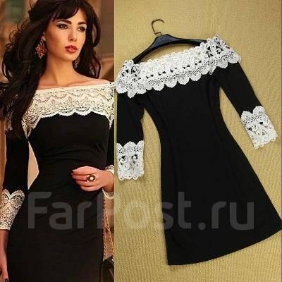 Фото черное платье с белым кружевом