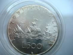 500 лир Италия 1958 г. парусники Колумба серебро